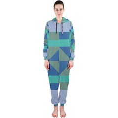 Green Blue Shapes Hooded Onepiece Jumpsuit by LalyLauraFLM