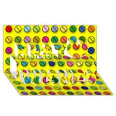 Multi Col Pills Pattern Best Wish 3d Greeting Card (8x4)  by ScienceGeek