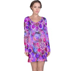 Pretty Floral Painting Long Sleeve Nightdresses