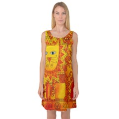 Patterned Lion Sleeveless Satin Nightdresses by julienicholls