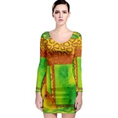 Patterned Giraffe  Long Sleeve Bodycon Dresses
