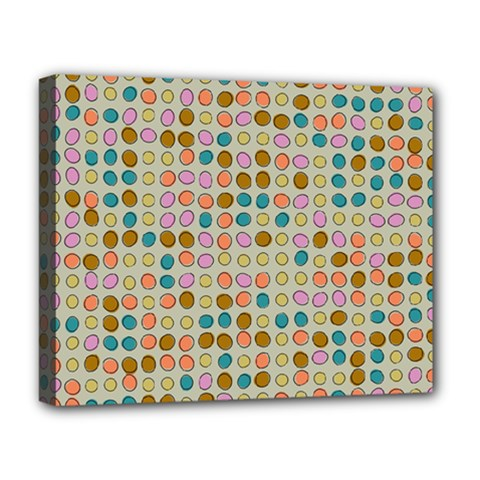 Retro Dots Pattern Deluxe Canvas 20  X 16  (stretched) by LalyLauraFLM