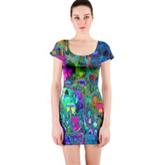 Inked Spot Fractal Art Short Sleeve Bodycon Dress by TheWowFactor