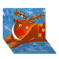 Rudolph The Reindeer Circle 3d Greeting Card (7x5)  by julienicholls