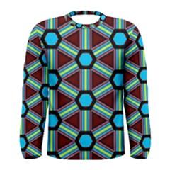 Stripes and hexagon pattern Men Long Sleeve T-shirt by LalyLauraFLM