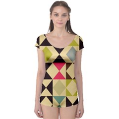 Rhombus And Triangles Pattern Short Sleeve Leotard by LalyLauraFLM