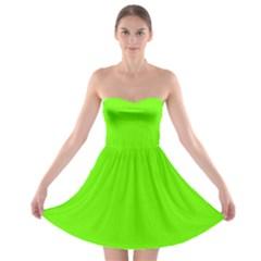 Bright Fluorescent Neon Green Strapless Bra Top Dress by PodArtist