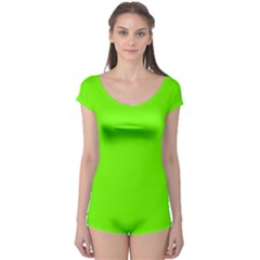 Bright Fluorescent Neon Green Short Sleeve Leotard by PodArtist