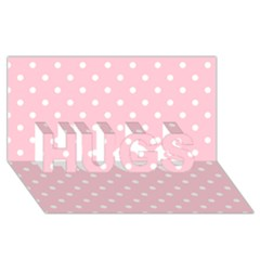 Pink Polka Dots HUGS 3D Greeting Card (8x4)  by LokisStuffnMore