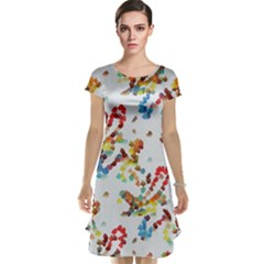 Colorful Paint Strokes Cap Sleeve Nightdress by LalyLauraFLM