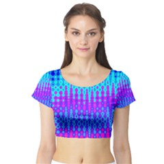Melting Blues And Pinks Short Sleeve Crop Top