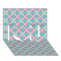 Cute Pretty Elegant Pattern I Love You 3d Greeting Card (7x5)  by creativemom