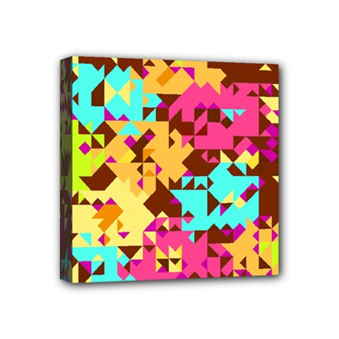 Shapes In Retro Colors Mini Canvas 4  X 4  (stretched) by LalyLauraFLM