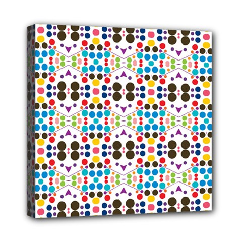 Colorful Dots Pattern Mini Canvas 8  X 8  (stretched) by LalyLauraFLM