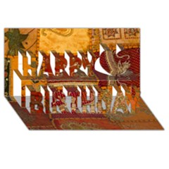 India Print Realism Fabric Art Happy Birthday 3d Greeting Card (8x4)  by TheWowFactor