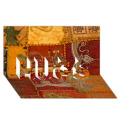 India Print Realism Fabric Art Hugs 3d Greeting Card (8x4)  by TheWowFactor