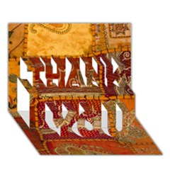 India Print Realism Fabric Art Thank You 3d Greeting Card (7x5)  by TheWowFactor