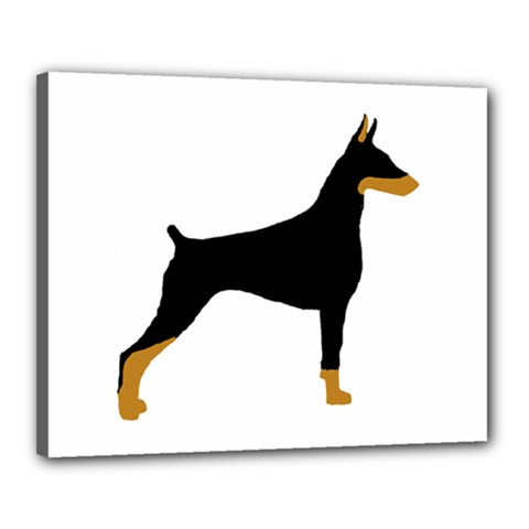 Doberman Pinscher black and tan silhouette Canvas 20  x 16  by TailWags
