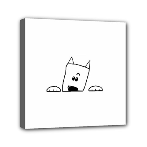 Peeping Westie Mini Canvas 6  x 6  by TailWags