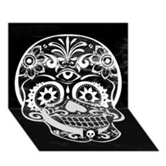 Skull Circle Bottom 3d Greeting Card (7x5)  by ImpressiveMoments