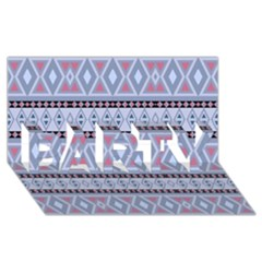 Fancy Tribal Border Pattern Blue Party 3d Greeting Card (8x4)  by ImpressiveMoments