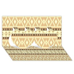 Fancy Tribal Border Pattern Beige Twin Hearts 3d Greeting Card (8x4)  by ImpressiveMoments