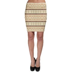 Fancy Tribal Border Pattern Beige Bodycon Skirts by ImpressiveMoments
