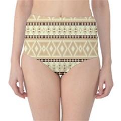 Fancy Tribal Border Pattern Beige High Waist Bikini Bottoms