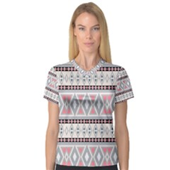 Fancy Tribal Border Pattern Soft Women s V-Neck Sport Mesh Tee by ImpressiveMoments