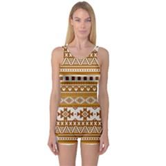 Fancy Tribal Borders Golden Women s Boyleg One Piece Swimsuits