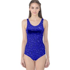 Sparkling Glitter Inky Blue Women s One Piece Swimsuits by ImpressiveMoments