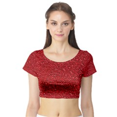 Sparkling Glitter Red Short Sleeve Crop Top