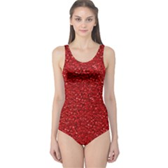 Sparkling Glitter Red Women s One Piece Swimsuits by ImpressiveMoments