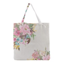 Vintage Watercolor Floral Grocery Tote Bags by PipPipHooray
