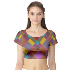Shapes Pattern Short Sleeve Crop Top by LalyLauraFLM