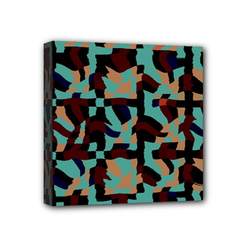 Distorted Shapes In Retro Colors Mini Canvas 4  X 4  (stretched) by LalyLauraFLM