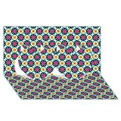 Cute Abstract Pattern Background Twin Hearts 3d Greeting Card (8x4)  by creativemom