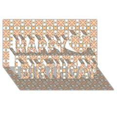 Cute Pretty Elegant Pattern Happy Birthday 3d Greeting Card (8x4)  by creativemom