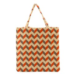 Modern Retro Chevron Patchwork Pattern  Grocery Tote Bags by creativemom