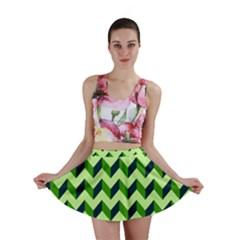 Modern Retro Chevron Patchwork Pattern Mini Skirts