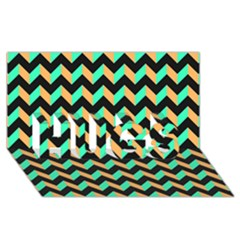 Modern Retro Chevron Patchwork Pattern Hugs 3d Greeting Card (8x4)  by creativemom