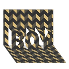Modern Retro Chevron Patchwork Pattern Boy 3d Greeting Card (7x5) by creativemom