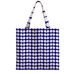 Blue And White Leaf Pattern Zipper Grocery Tote Bags by creativemom