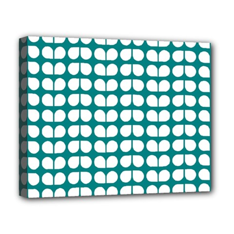 Teal And White Leaf Pattern Deluxe Canvas 20  x 16   by creativemom
