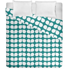 Teal And White Leaf Pattern Duvet Cover (double Size) by creativemom