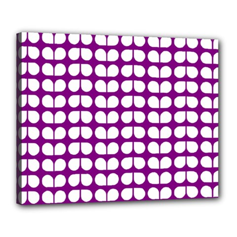 Purple And White Leaf Pattern Canvas 20  x 16  by creativemom