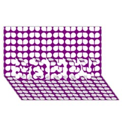 Purple And White Leaf Pattern Sorry 3d Greeting Card (8x4)  by creativemom