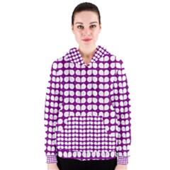 Purple And White Leaf Pattern Women s Zipper Hoodies by creativemom