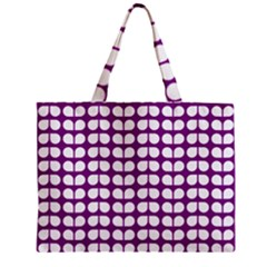 Purple And White Leaf Pattern Zipper Tiny Tote Bags by creativemom