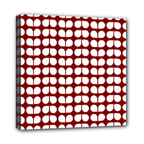 Red And White Leaf Pattern Mini Canvas 8  X 8  by creativemom